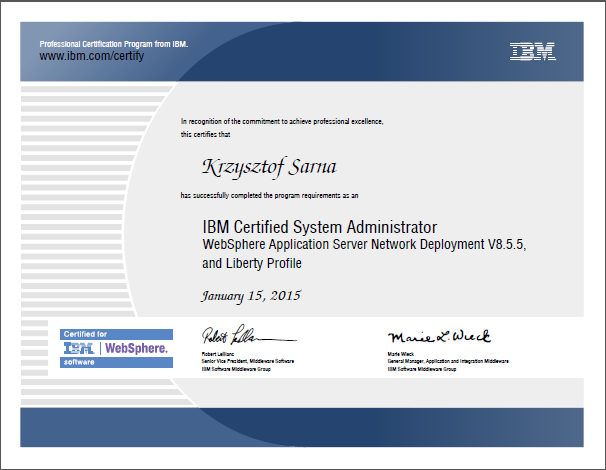 cert WAS855ND KS - IBM Certified System Administrator: WAS 8.5.5 ND – zdobyty