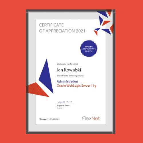 certyfikat ukonczenia szkolenia weblogic 11g 500x500 - Szkolenie Oracle WebLogic Server 11g - Administracja