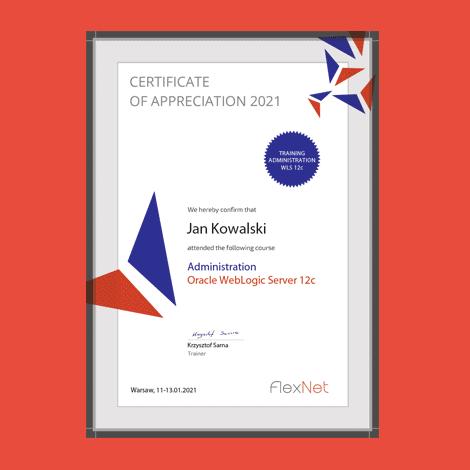 certyfikat ukonczenia szkolenia weblogic 12c 1 - Szkolenie Oracle WebLogic Server 12c - Administracja